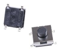 Black Plunger Tactile Switch, Single Pole Single Throw (SPST) 50 mA @ 24 V dc 1.7mm