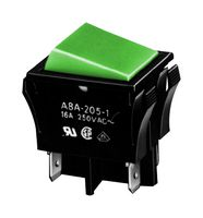 OMRON ELECTRONIC COMPONENTS A8A213-1 ROCKER SWITCH, DPST, 0.0015A, 100V, GRN,