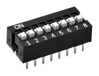 OMRON ELECTRONIC COMPONENTS A6E-2104-N. DIP SWITCH, 2POS, SPST, RAISED, No. of C